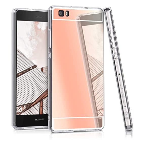 purchase cheap d80cd 6dc52 kwmobile Mirror Case for Huawei P8 Lite (2015) - TPU Silicone Bumper  Protective Cover Reflective Back Case - Rose Gold Reflective
