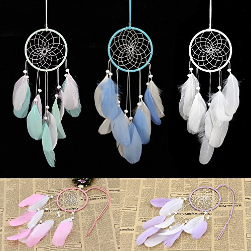 Afco Handmade Indian Feathers Dream Catcher Wall Hanging Car Hanging Decoration Ornament (Pink+White) by Afco (Image #2)