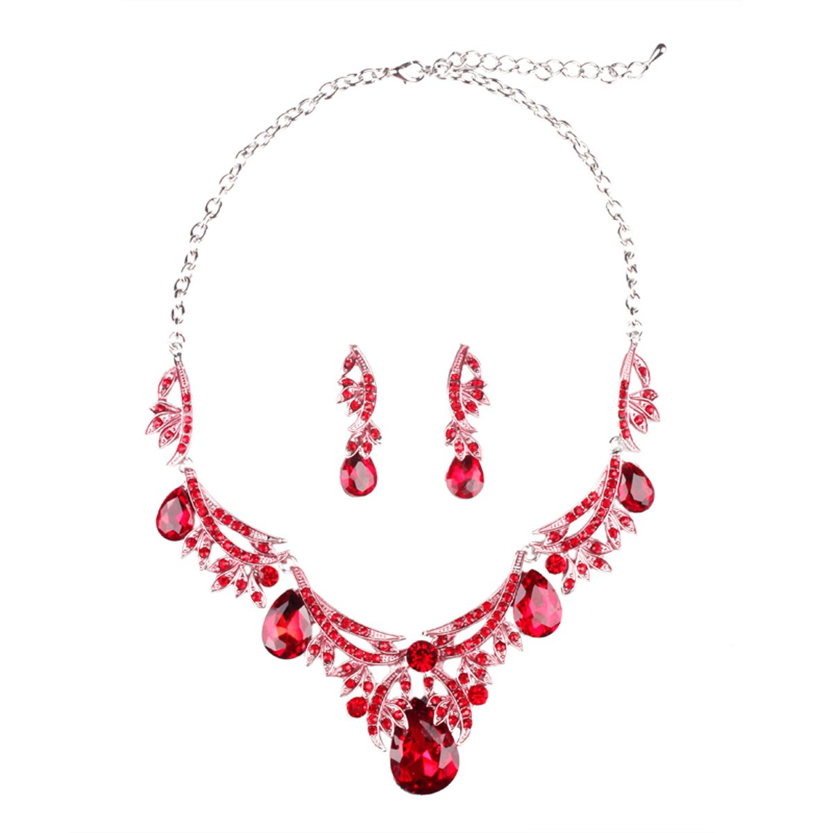 Hamer Costume Jewelry Multicolor Hand Painting Crystal Choker Pendant Statement Chain Charm Necklace Earrings Sets Women (Red, Alloy)
