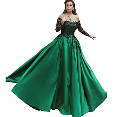 Little Star Green Prom Dresses Long Sleeve 2019 Formal Dresses A Line Evening  Gowns Off The 3999519c7a