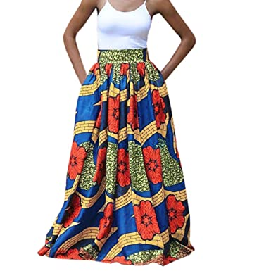 6c7d7d27ec68 Amazon.com: 2019 Maxi Skirts Women Summer Ethnic Style Vintage African  Floral Printed Long Pleated Swing Beach Skirt: Clothing