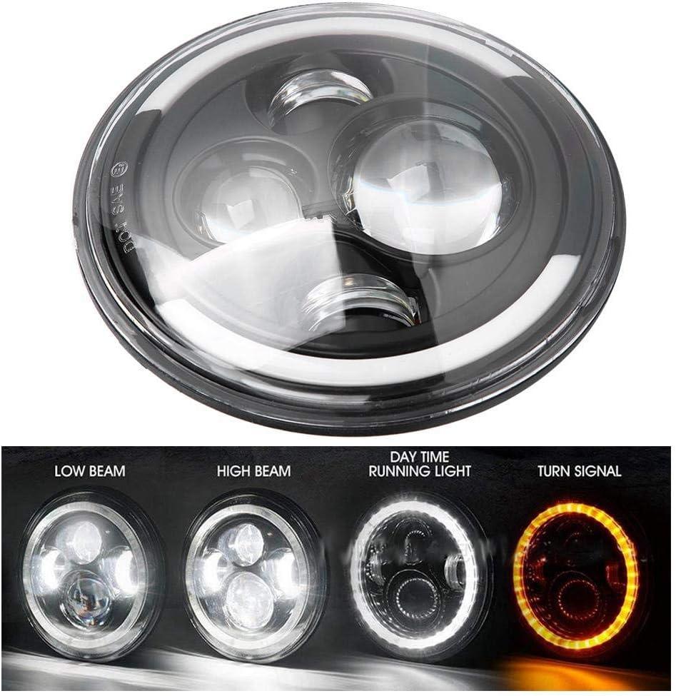 Qiilu Faro a LED faro a LED rotondo da 7 pollici Halo Angle Eyes Luce di marcia diurna Indicatore di direzione