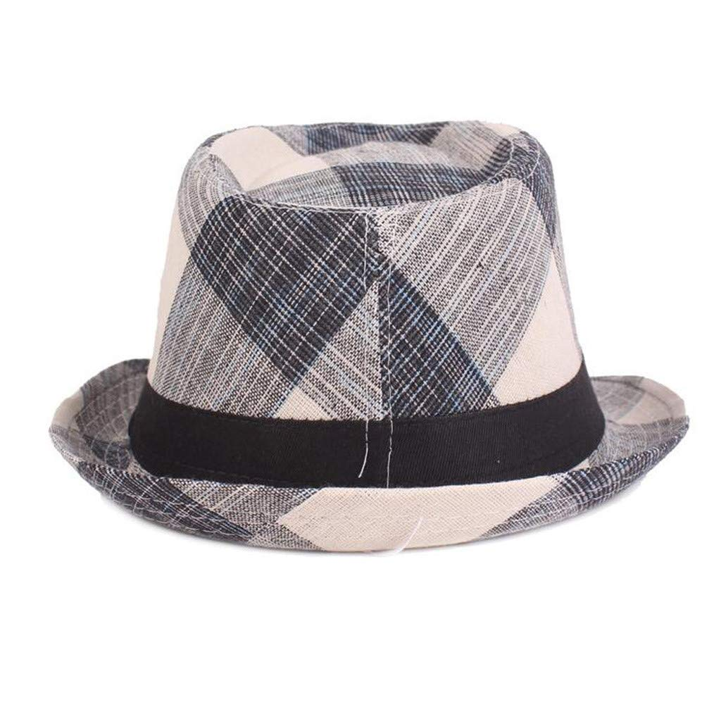 Cloudqi Spring and Summer Outdoor Plaid Hats Jazz Hats Literary Youth Hat Middle and Old Hat Sun Protection Cap