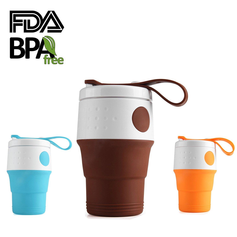 折りたたみ可能な旅行コーヒーカップ、13.5oz Foldable Travel Mug with漏れ防止蓋、BPA Free食品グレードの屋外キャンプハイキングピクニック B0761LMS1J  コーヒー