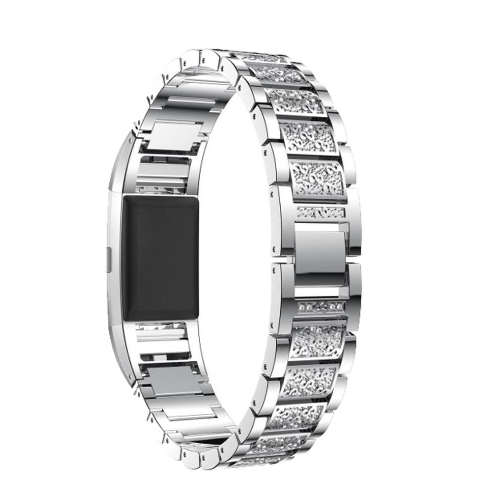 Memela(TM) Diamond Belts For Fitbit Charge 2, Bling Belts for Women Watch Band Replacement (Silver)
