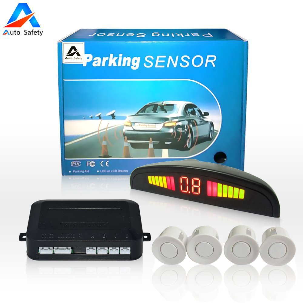 Auto safety Car Reverse Backup Radar System parking sensor kit , LED Dispaly + Human Voice Alert +4 sensors+4 colors for Universal Auto Vehicle (Silver) ASPS4S