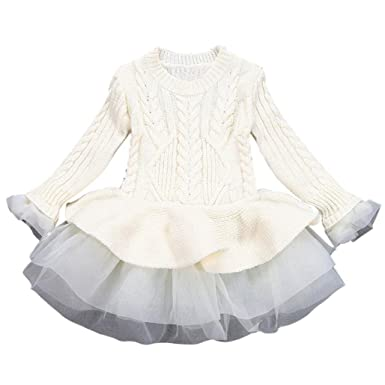 179a43866cf Kimanli Kids Girls Knitted Sweater Winter Pullovers Crochet Tutu Dress Tops  (3year old
