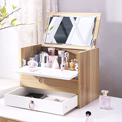 Rart Diy Makeup Storage Box,Multi Layer Drawer Storage Boxes Wooden Desk  Organiser Jewellery