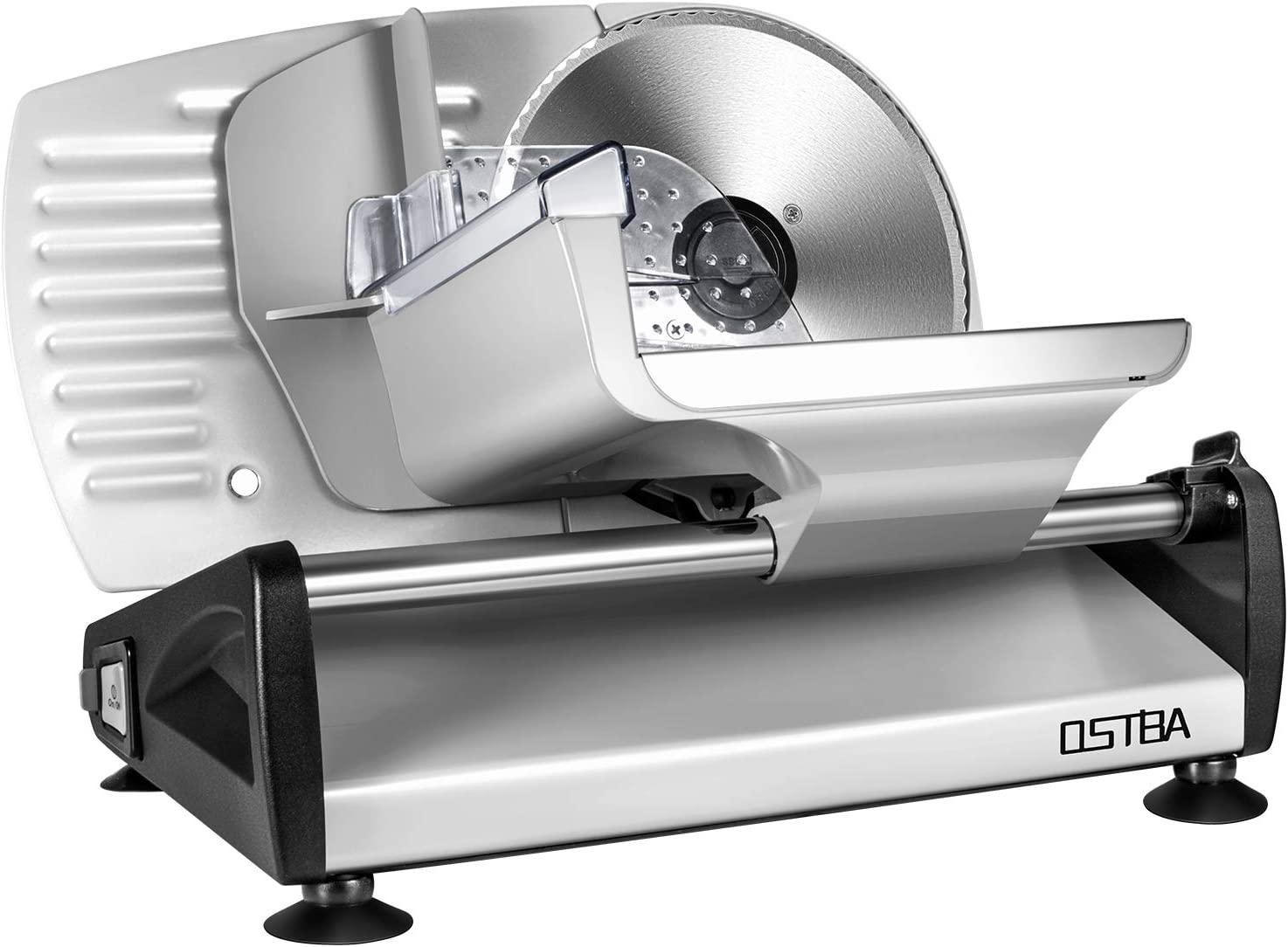 Cortafiambres eléctrico de acero inoxidable, cortador de salchichas con grosor de corte ajustable (0 – 15 mm), máquina de cortar queso, máquina de cortar pan, 150 W, plata, ostba