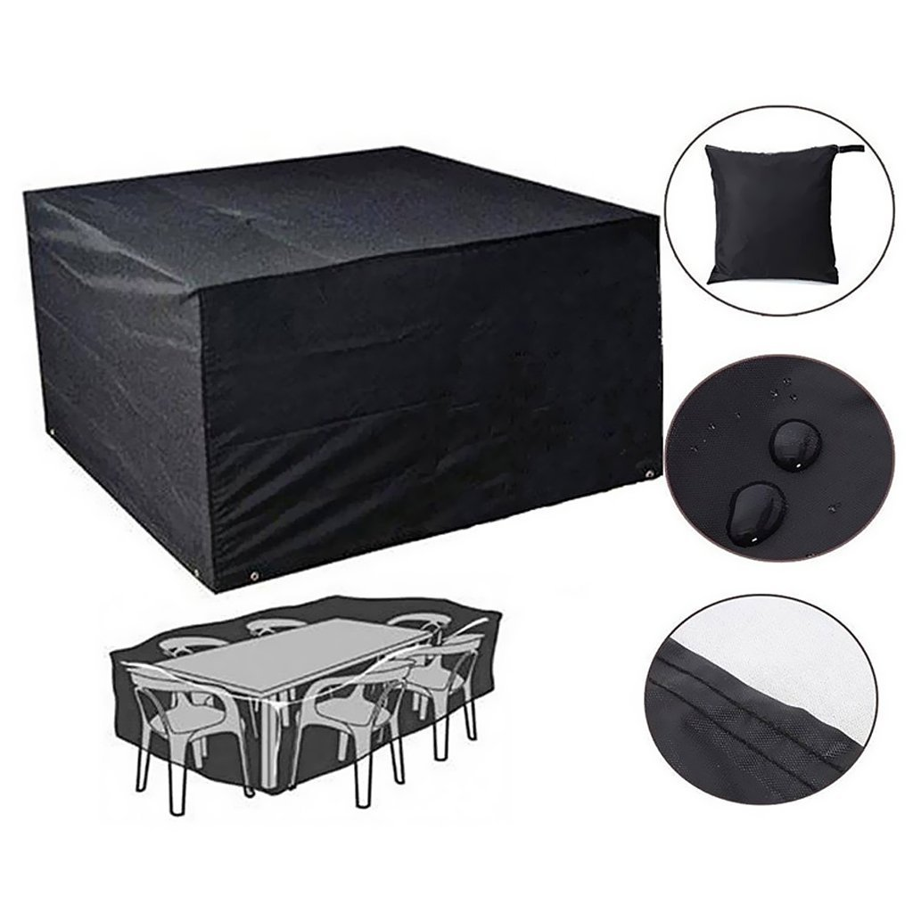 PESTORY 210D Heavy Anti Dust UV Rain Cover Outdoor Furniture Cover Waterproof Dustproof Cube Table Chair Cover (213x132x74cm)