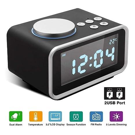 IDABAY Reloj Despertador Digital Radio FM con Dual Alarma Pantalla LCD Regulable Función Snooze Termómetro Puerto