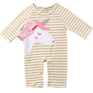7cc720e6e06 Amazon.com  Newborn Infant Baby Girls Long Sleeve Stripes Unicorn Romper  Jumpsuit Outfits  Clothing