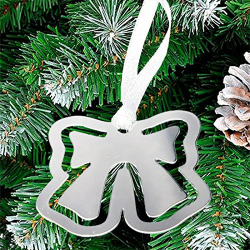 - Center Gifts Bow Bookmark Ornament With Silver Ribbon with Engraved Message Or Name