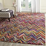 Safavieh Nantucket Collection NAN141A Handmade Abstract Chevron Pink and Multi Cotton Square Area Rug (4' Square)