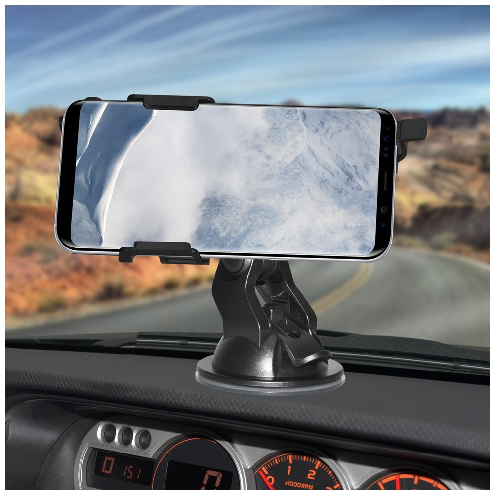 Dash Suction Mount AMZER Slim Suction Cup Vehicle Car Mount Holder for Windshield Console Car Mount for Samsung Galaxy S8