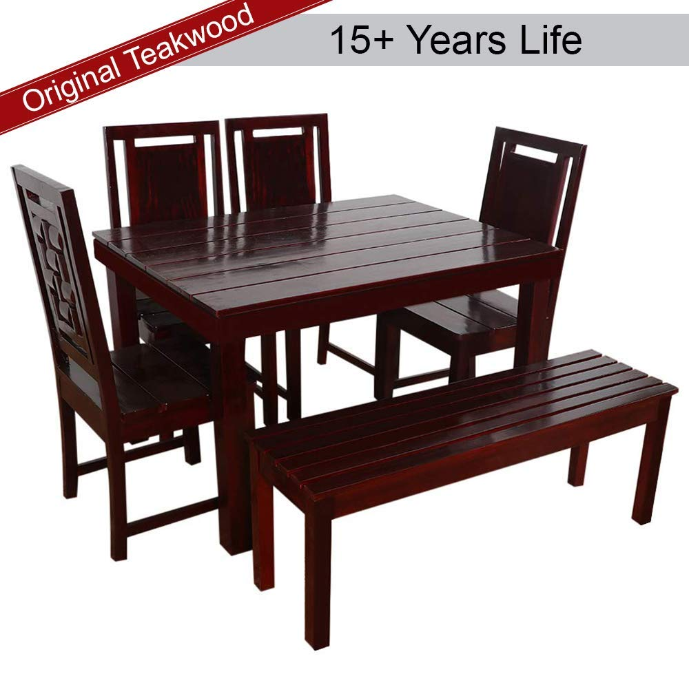 Furny Duron Teak Wood 6 Seater Dining Table Set - with Bench