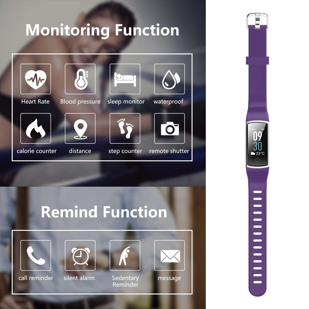moreFit Waterproof Activity Tracker, Fitness Tracker Color Screen Smart Watch, Blood Pressure Watch With Sleep Monitors, Heart Rate Calorie Pedometers Call/SMS Alert For Women Men Students Kids Purple by moreFit (Image #7)