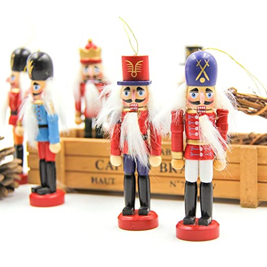 6 pcs per set christmas decorations nutcrackers wooden soldier puppet anvor 12cm wood novelty decorative - Christmas Decorations Wooden Soldiers