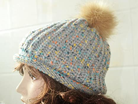 Mhgao ms autunno inverno Simplicity linee colorate curling Hair Ball Cap  cappello di lana ffe86ccf21cb