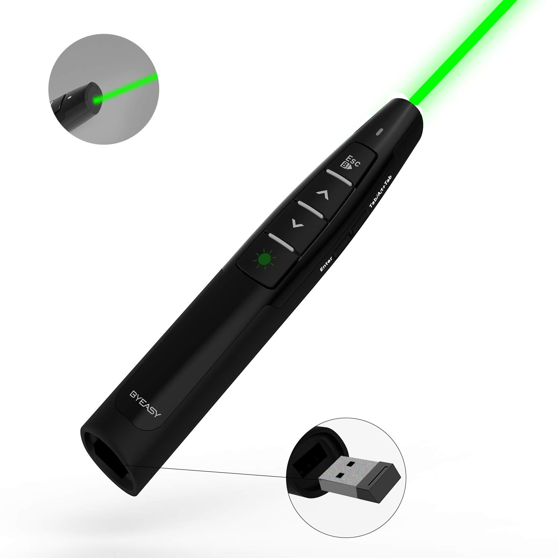 Wireless Presenter, BYEASY Presentation Clicker with Green Laser Pointer  for Presentations, RF 2 4GHz PowerPoint Clicker Remote for PowerPoint