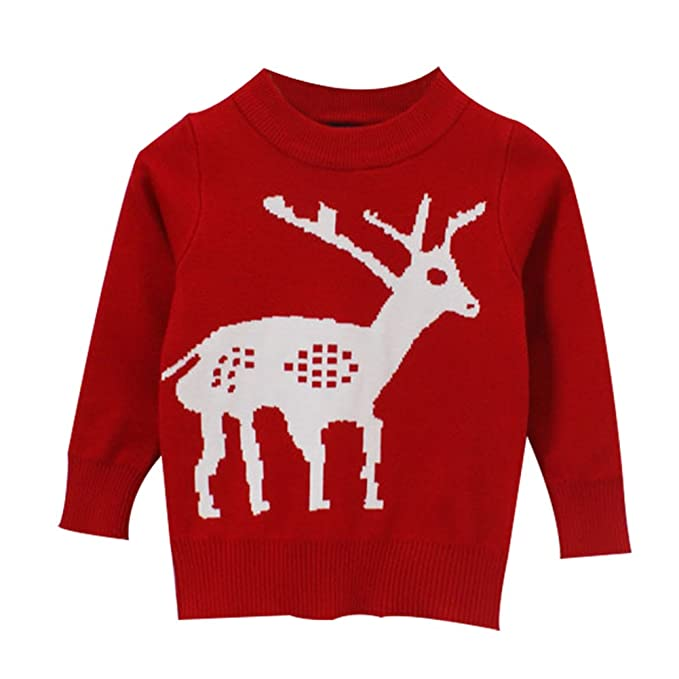 taiycyxgan toddler boys girls christmas sweater kids deer pullover sweatshirt red 130