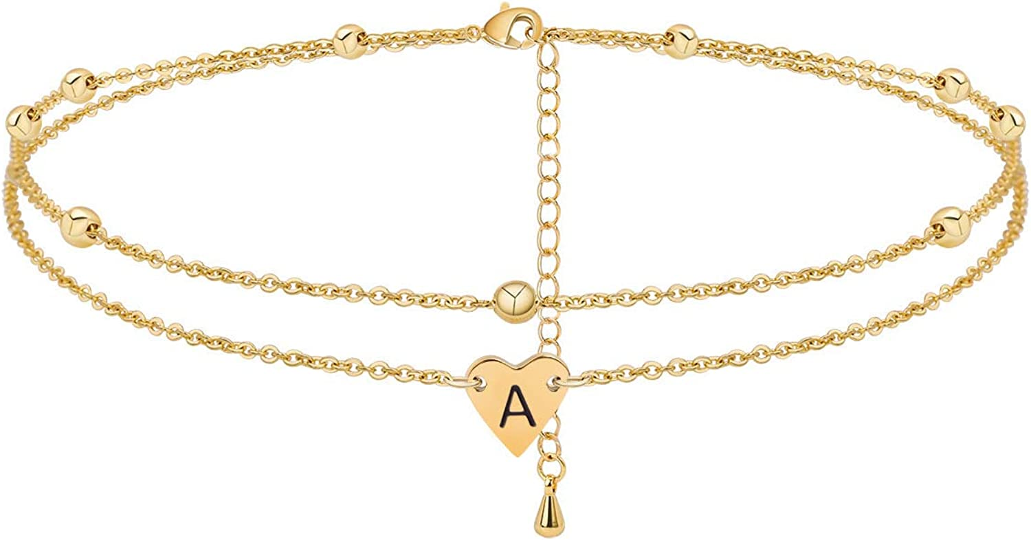 Initial Heart Anklet Bracelet Layered Heart Letters A to Z Alphabet Beads Chain Anklet for Women 14K Real Gold Plated Beach Foot Chain Jewelry