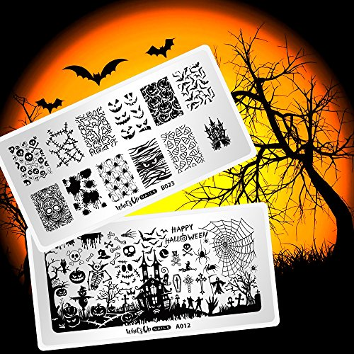 Whats Up Nails - Halloween Stamping Plates 2 pack (A012, B023) for Nail Art Design -