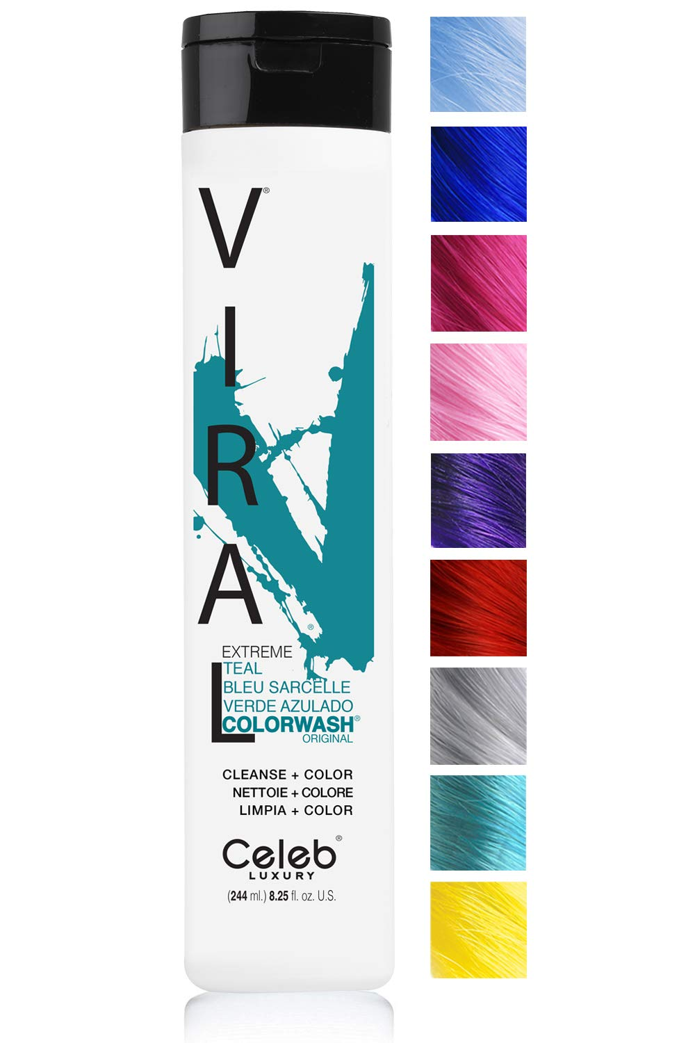 Celeb Luxury Viral Colorwash: Teal Color Depositing Shampoo Concentrate, 10 Vivid and Pastel Colors, Stops Fade, 1 Quick Wash, Cleanse + Color, Sulfate-Free, Cruelty-Free, 100% Vegan by CELEB LUXURY