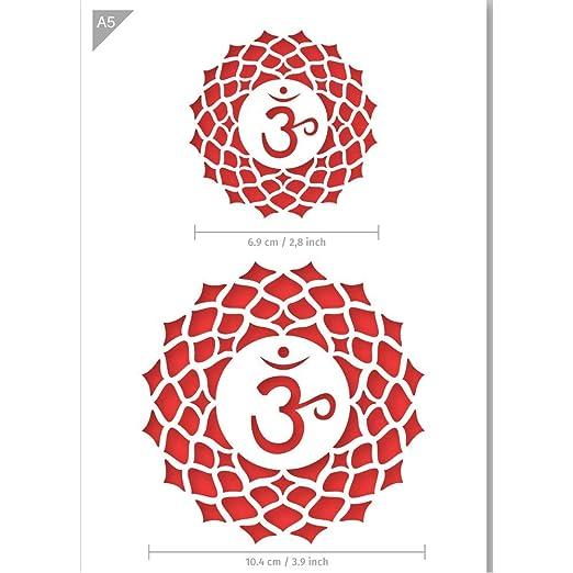 QBIX Chakra stencil - Ohm stencil - Sahasrara crown chakra ...