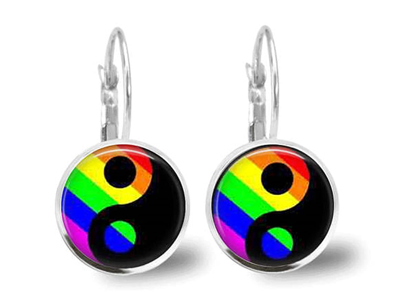 Ying Yang pendientes Tile Jewelry orgullo Gay Arco Iris Joyas