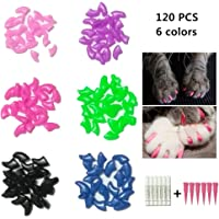 Cat Nail Caps, Tsfan 120 Pcs Soft Paws Pet Nail Caps 6 Colors Cat Claw Caps with 6 Adhesives and Applicators for Cat Paws (Medium)