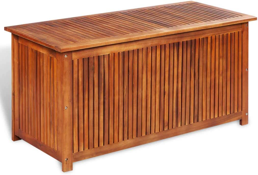 Tidyard Caja de Almacenaje de Jardín con Forro Impermeable de Resistente a la Intemperie y Duradero de Madera Maciza de Acacia 117x50x58 cm