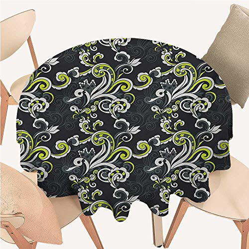 - Floral Table Cloths Spill Proof Vintage Foliage Ornate Motif with Swirling Leaves Doodle Style Tablecloth Clips for Tables Charcoal Grey Yellow Green White