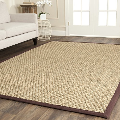 Safavieh Natural Fiber Collection NF114K Basketweave Natural and  Dark Brown Seagrass Area Rug (4' x 6')