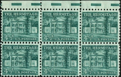 THE HERMITAGE ~ ANDREW JACKSON #1037 Block of 6 x 4½¢ US Postage Stamps