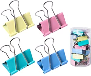 24 Packs Extra Large Binder Clips, 2 Inch Big Paper Clamps for Office, School and Home Supplies, Multicolored