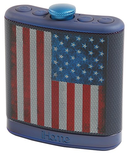 Sound Design iHome Rechargeable Flask Shaped Bluetooth Stereo Speaker - American Flag (iBT12AMFLX) (Ace Clock Outdoor)