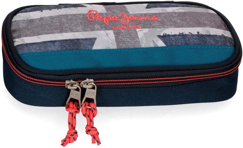 Pepe Jeans Ian - Estuche con Organizador, 22 cm, Azul
