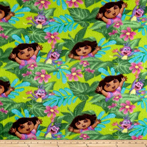 Springs Creative Products Nickelodeon Dora The Explorer Fleece Jungle Fever Green Fabric by The Yard