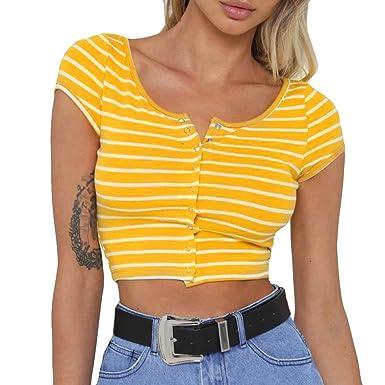 Cloom Frauen Top Sexy V-Ausschnitt Damen Kurzarm Tops Mädchen Club Bluse  Damenmode Top Elegantes Sexy T-Shirt für Frauen Kurzes Bauchnabel-T-Shirt  Streifen ... 56c90cc29a