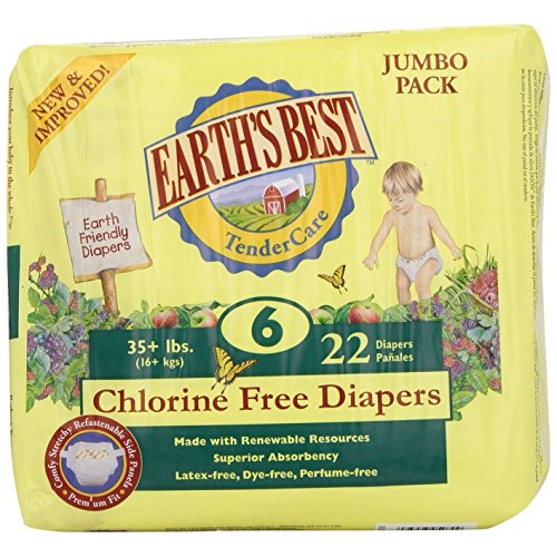 EARTH'S BEST DIAPERS,CHLOR FREE,SIZE 6, 22 CT CASE_4