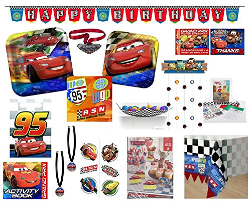 Disney Cars Party Supply Mega Bundle For 8 Guests - Includes Paper Goods, Favors, Games, Invitations and More ()