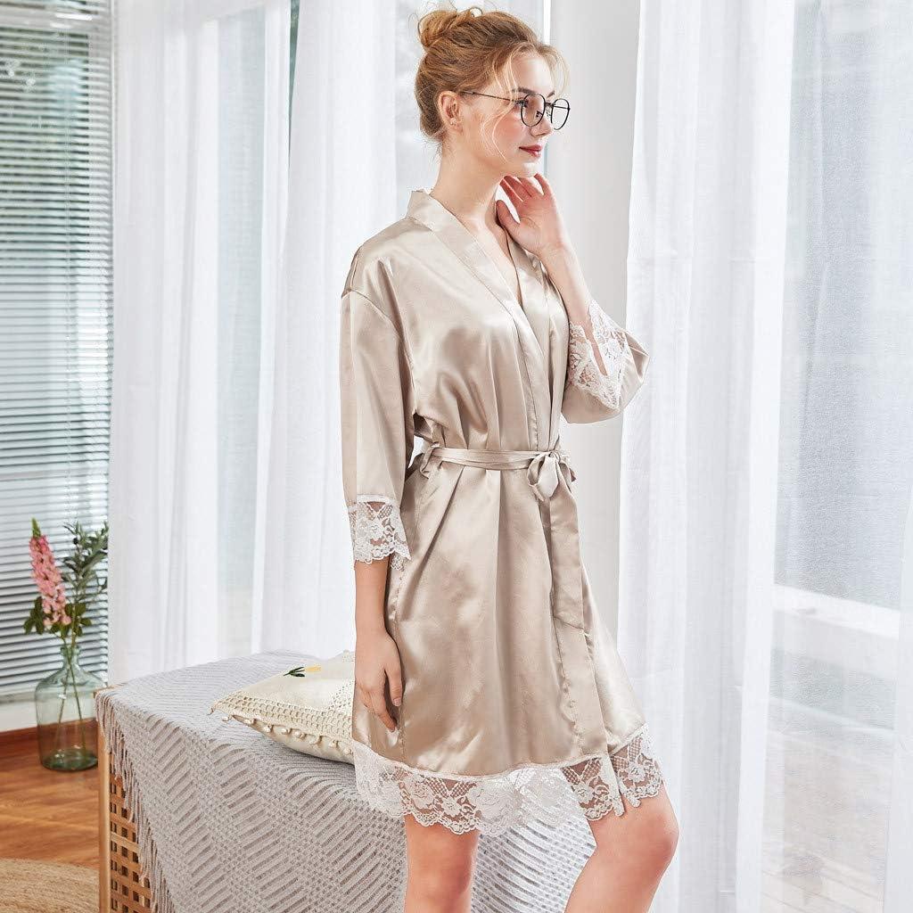 Loolik Albornoz Mujer Blanco Satén Camisón Sexy Pijama Vestido ...