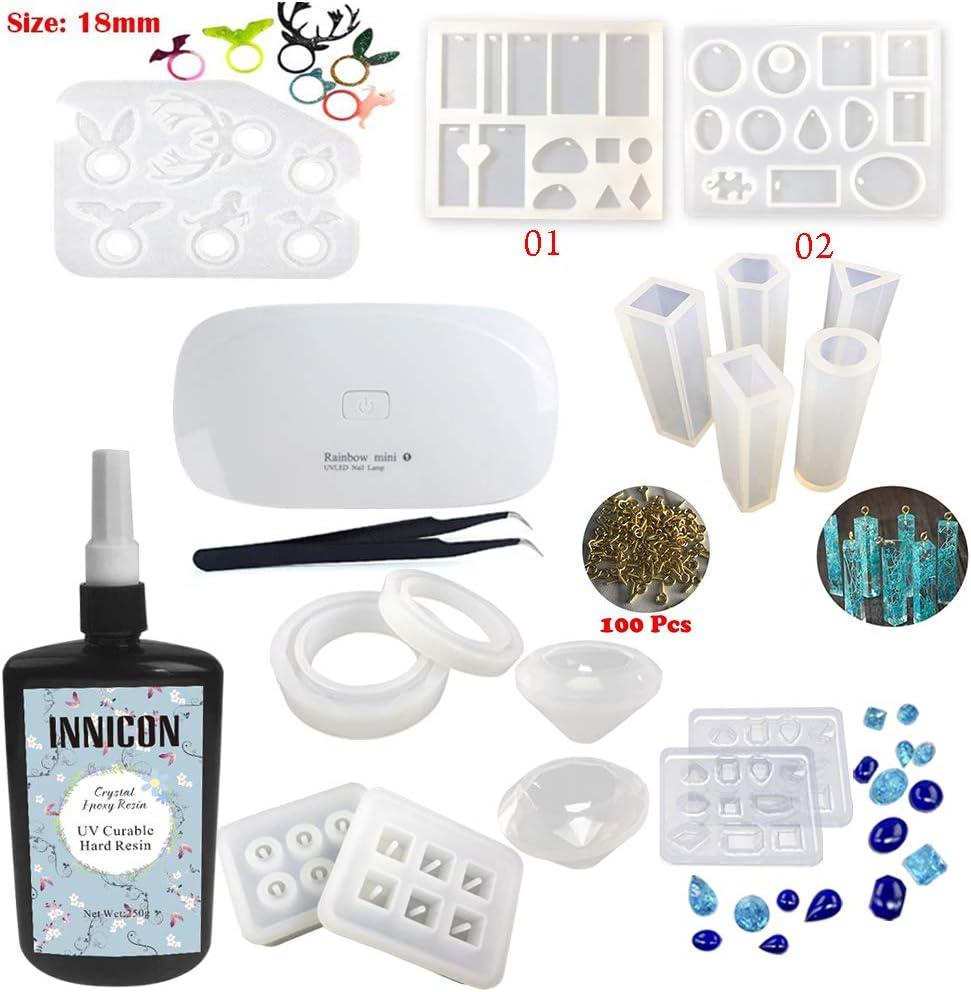 INNICON - 250 g de resina epoxi UV de secado rápido, 16 bolas de silicona, piedras preciosas, forma de alce, 100 pins de ojos, pinzas, para manualidades, colgante, collar, pulsera, colgante,