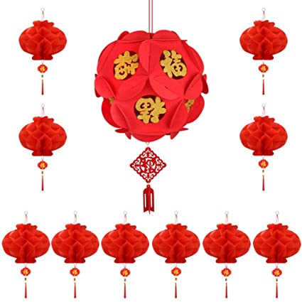 2 Size Aniparty 15 Pieces Chinese New Year Red Lanterns with Fu Character Chinese Red Lucks Hanging Lanterns Decoration for Chinese Spring Festival