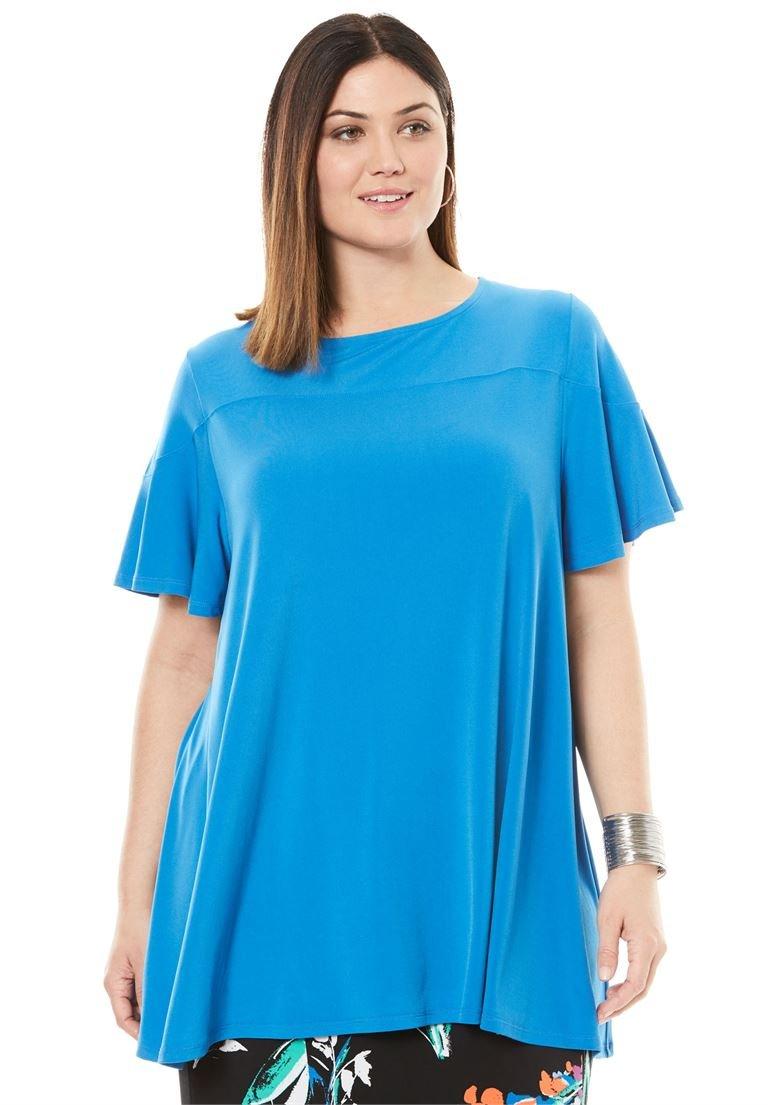 Jessica London Women's Plus Size Flutter Sleeve Tunic Bright Cobalt,18/20