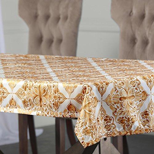 - Ptpch-170803C-TC-120 Tiera Designer Faux Silk Taffeta Table Cloth, 54 x 120, Gold
