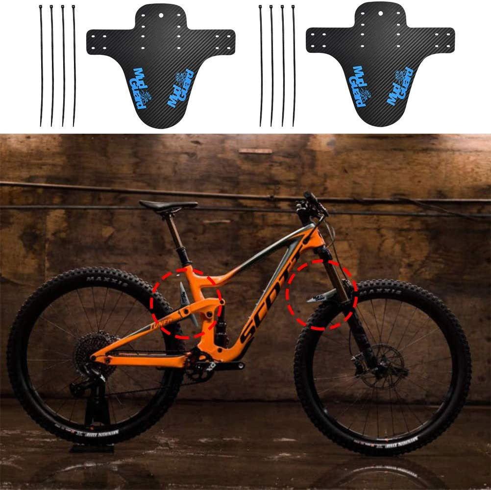 N//A 2PCS MTB Carbon Fiber Mud Guard with 8 Cable Ties Bike Fixed Gear Mudguard,Bicycle Mud MTB Fender Front Rear Bike Fender for Cycling//Racing//Mountain Road Bikes Black
