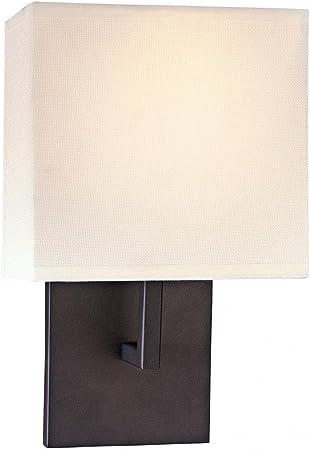 George Kovacs P470 617 1 Light Wall Sconce W Off White Linen Shade Bronze Amazon Com