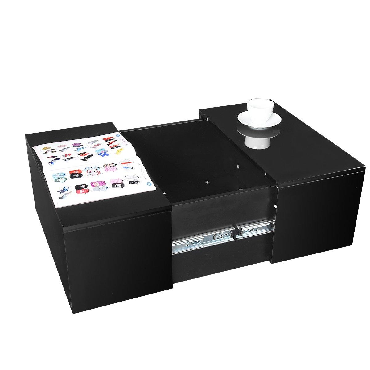 Anaelle Pandamoto Table Basse en MDF Rectangulaire Moderne sur Salon - Bureau et Chambre - Taille Extension:105 x